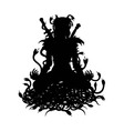 Silhouette of warrior woman in lotus with snakes vector image