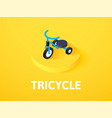 tricycle isometric icon isolated on color vector image vector image
