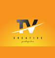 tv t v letter modern logo design with yellow vector image vector image