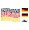 waving germany flag pattern of military tank icons vector image vector image