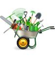 Wheelbarrow with Garden Accessories vector image