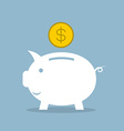 white piggy bank with dollar coin vector image vector image