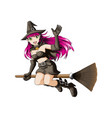 witch girl flying cartoon on white background vector image