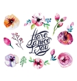 Beautiful Watercolor flower set over white vector image