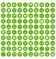 100 conference icons hexagon green