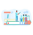 a chemist conducts scientific experiment vector image