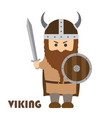 angry cartoon viking with beard in helmet vector image