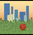 basketball ball on cityscape vector image vector image