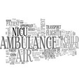 benefits of nicu air ambulance services text word vector image vector image