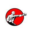 Boxer Jabbing Punching Circle Woodcut vector image vector image
