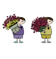 boy with flower vector image vector image