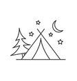 Camping tent icon outline
