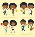 cheerfu african americanl young boys and girls vector image vector image