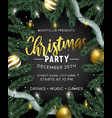 christmas party invitation with gold decoration vector image