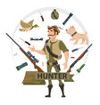 colorful hunting elements concept vector image