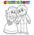 coloring book with wedding couple vector image