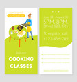cooking classes card template culinary school vector image vector image