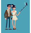 Couple Taking Selfies with a Selfie Stick vector image vector image