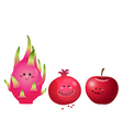 cute fruits apple dragon fruit pomegranate vector image