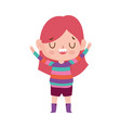 cute girl with striped sweater and expression vector image