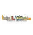 czech republic outline skyline czech flat thin vector image vector image