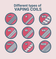 different types of vaping coils flat icons set vector image vector image