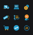 flat colorful shop icons on black vector image vector image