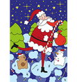 funny Santa Claus licks big lollipop vector image vector image