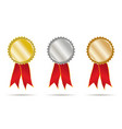 gold silver and bronce ribbons vector image vector image