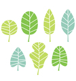 Green tree leaves collection isolated on white vector image vector image