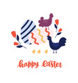 greeting card template with happy easter holiday vector image