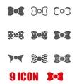 grey bow ties icon set vector image vector image