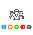 group line icon users or teamwork sign vector image vector image