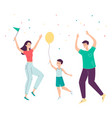 happy cartoon family jumping in celebration vector image vector image