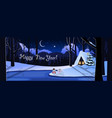 happy new year greeting card of snowy night vector image