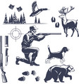 hunting vintage style icons set vector image vector image