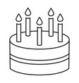 line art black and white birthday cake 5 candles vector image vector image