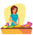 lunch box young woman making lunch in the vector image vector image