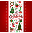 merry christmas greeting card with xmas vector image vector image