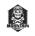 mountain renegades vintage grunge print with skull vector image