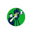 Movie Director Movie Film Camera Circle Retro vector image vector image