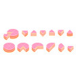 pieces pink cake infographics whole cake vector image vector image