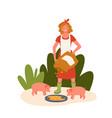 pig farm livestock concept farmer agrarian woman vector image
