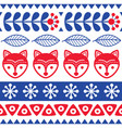 scandinavian seamless folk art pattern vector image vector image