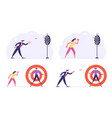 set businesspeople aiming darts to target vector image vector image