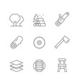 set line icons timber industry vector image