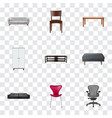 set of design realistic symbols with office chair vector image vector image