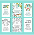 set of farm vertical posters in flat linear vector image