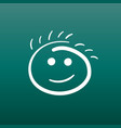 simple smile icon hand drawn face doodle on green vector image