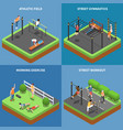 street workout isometric design concept vector image